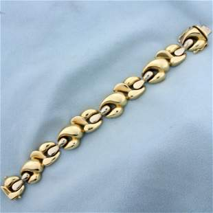 Two Tone Italian Made Designer Link Statement Bracelet