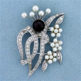 Vintage Tahitian and Akoya Pearl and Diamond Pin or