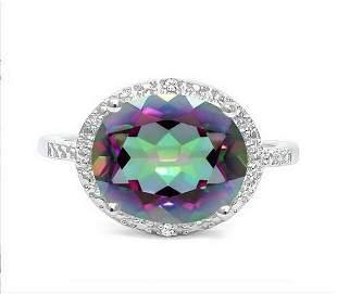Huge 4.3CT Mystic Topaz & Diamond Statement Ring in