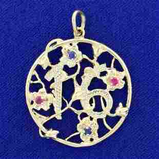 Sweet 16 Ruby and Sapphire Pendant in 14K Yellow Gold