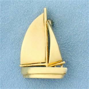 Sailboat Pin In 14K Yellow Gold
