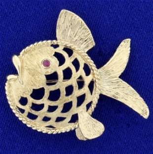 Vintage Designer Numbered Ruby Fish Pin in 14K Yellow
