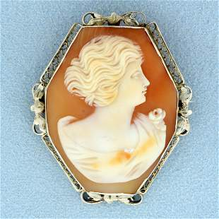 Antique Cameo Pendant or Pin in 14K White Gold