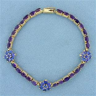 9ct TW Amethyst and Tanzanite Flower Bracelet in 14K