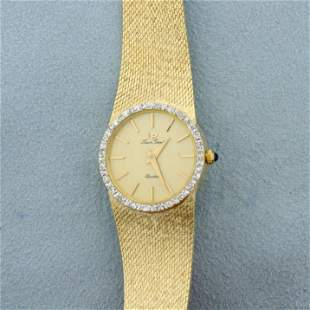 Lucien Piccard Diamond womens Watch in Solid 14K Yellow