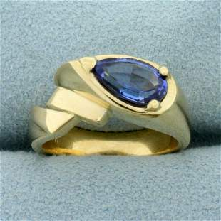 Unique Tanzanite Ring in 14K Yellow Gold