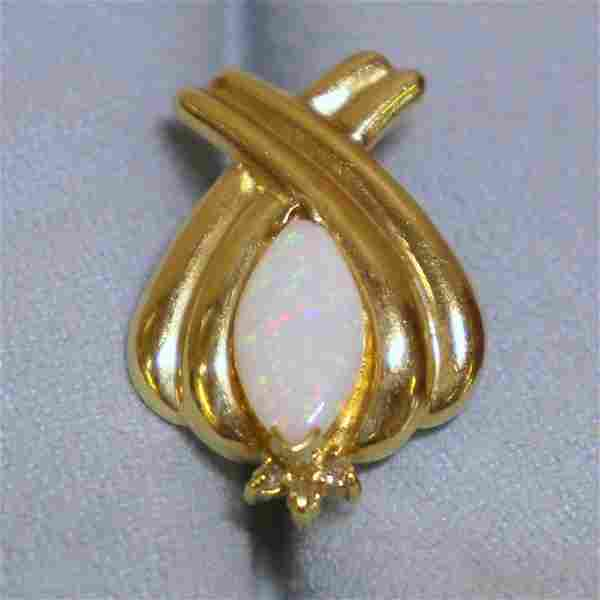 Opal and Diamond Pendant or Slide in 10K Yellow Gold