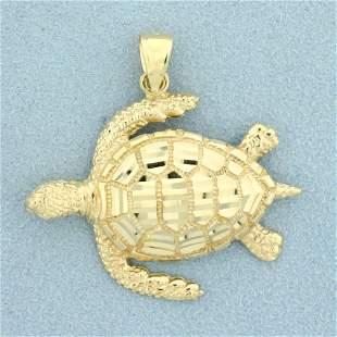Diamond Cut Sea Turtle Pendant in 14K Yellow Gold