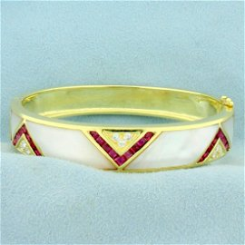 Ruby, Mother of Pearl and Diamond Bangle Bracelet in