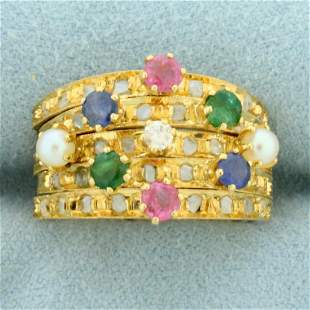 Multi Gemstone and Diamond Puzzle Ring in 18K Yellow