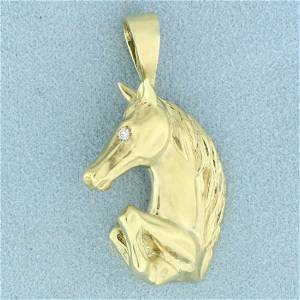 Designer Maurice Katz Diamond Horse Pendant in 14K