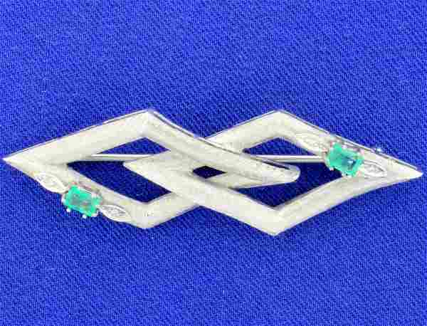 Antique Art Deco Design Emerald and Diamond Pin in 18k