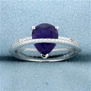 2CT Pear Cut Amethyst & Diamond Ring in Sterling Silver