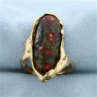 Agate Hand Made Ring in 14K Yellow Gold