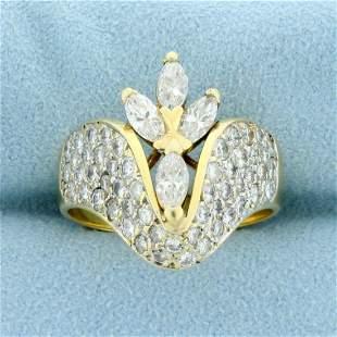 Unique Custom Designed 2ct TW Diamond Ring in 14K