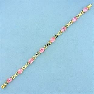 12ct TW Pink CZ Line Bracelet in 10K Yellow Gold