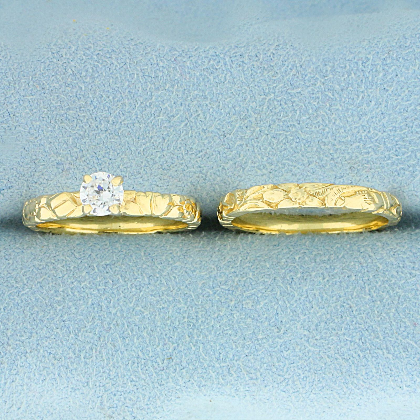 Solitaire .4ct Diamond Engagement Ring and Wedding Band