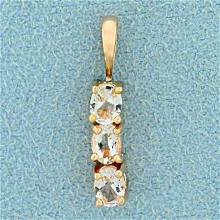 1/2ct TW Morganite Three Stone Pendant in 14K Yellow