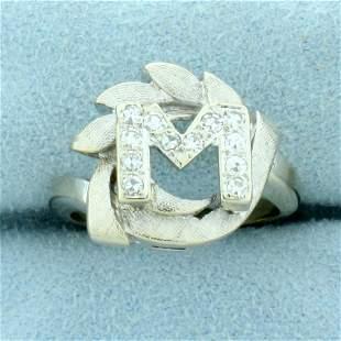 "Vintage Diamond Initial ""M"" Ring in 14K White Gold"