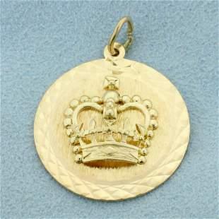 Royal Crown Pendant in 14K Yellow Gold