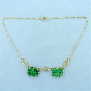 Vintage Jade and Pearl Necklace in 14K Yellow Gold