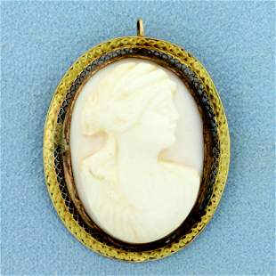 Pink Cameo Pendant or Pin in 10K Yellow Gold