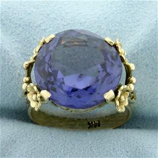 Vintage 12CT Purple Sapphire Solitaire Ring in 14K