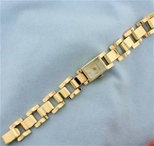 Womens Vintage Tourneau Wrist Watch in Solid 14K Yellow