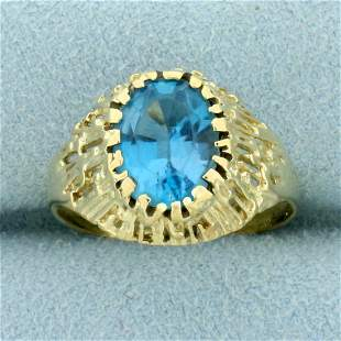 Vintage 3CT Blue Topaz Solitaire Ring in 10K Yellow