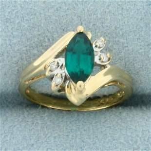 3/4ct Tsavorite and Diamond Pinky Ring in 14K Yellow