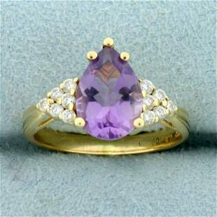 2.25ct TW Amethyst and Diamond Ring in 14K Yellow Gold