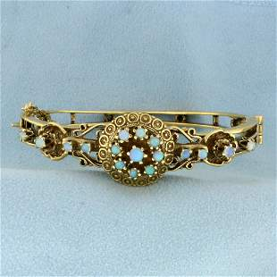 Vintage Opal Bangle Bracelet in 14K Yellow Gold