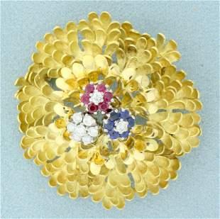 Designer Ruby, Sapphire and Diamond Flower Pin in 18K