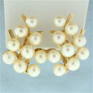 Designer Ming's Pearl Earrings in 14K Yellow Gold