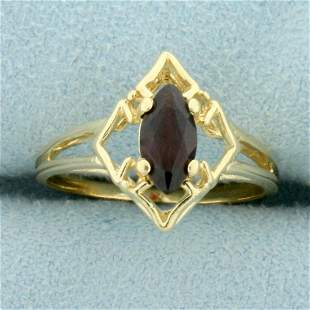 Vintage Garnet Cut Out Solitaire Ring in 14K Yellow