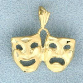 Comedy Tragedy Theater Pendant in 14K Yellow Gold