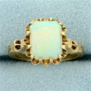 Vintage Opal Solitaire Ring in 10K Yellow Gold