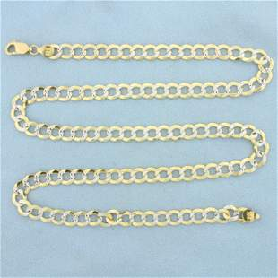 Diamond Cut Two Tone Flat Cable Link Chain Necklace in
