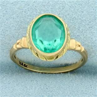 Vintage Green Quartz Ring in 10K Yellow Gold
