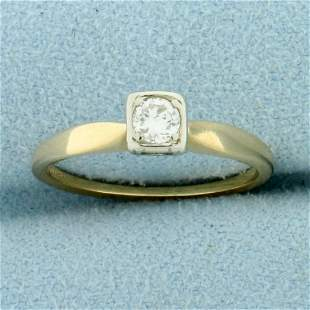 Vintage Diamond Solitaire Engagement Ring in 14K Yellow