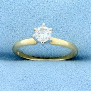 1/3ct Solitaire Diamond Engagement Ring in 14k Yellow