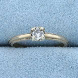 Vintage 1/5ct Solitaire Diamond Engagement Ring in 14k