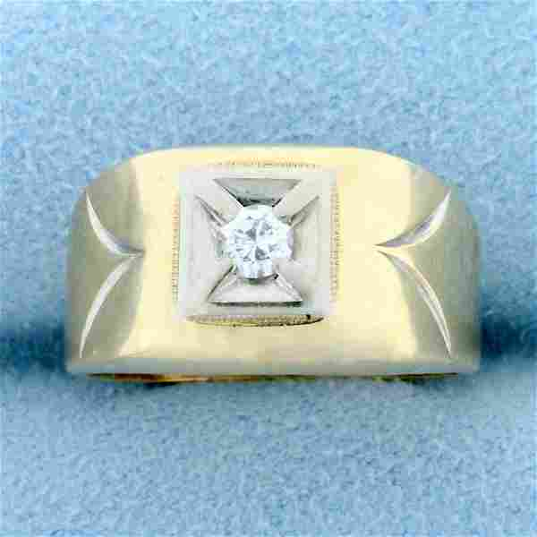 Vintage Solitaire Diamond Ring in 14K Yellow and White