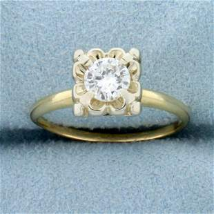 Vintage 1/2ct Diamond Solitaire Ring in 14K Yellow and