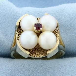 Designer Akoya Pearl and Ruby Target Ring in 14K Yellow