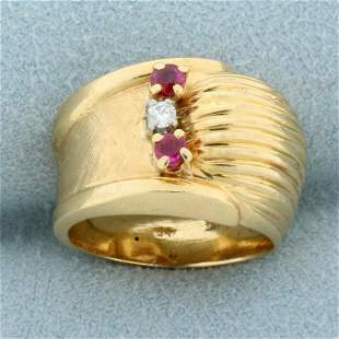 Vintage Ruby and Diamond Ring in 14K Yellow Gold