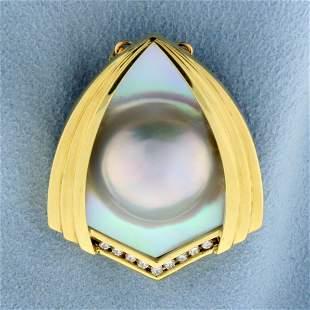 Designer Mabe Pearl and Diamond Statement Pendant in