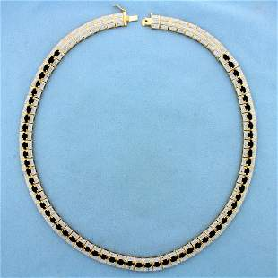 Designer 15ct Sapphire Necklace in Gold Plated Sterling