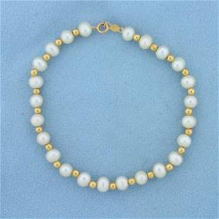 7 1/4 Inch Cultured Pearl and Gold Bead Bracelet in 14K