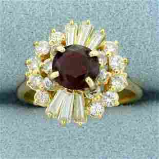 Vintage 2ct TW Natural Ruby and Diamond Ring in 18K
